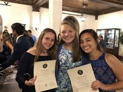 Alums Elise Anderson, Avery Patterson, and Andrea Ashchi (l to r) at their induction into the Spanish Honor Society