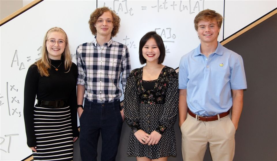 NATIONAL MERIT SEMIFINALISTS: John Cooper School seniors, from left, Ellie Petersen, Sawyer Liner, Avery Nakahara and Wyatt Wright, have been named Semifinalists in the 2020 National Merit Scholarship Program.