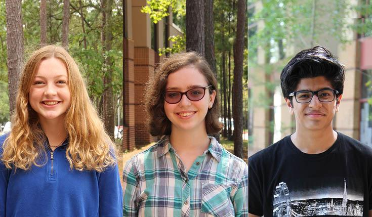 Seniors, from left, Adelaide Herman, Rebecca Juranek and Rohan Vaidya, have been named Semifinalists in the 2021 National Merit Scholarship Program.