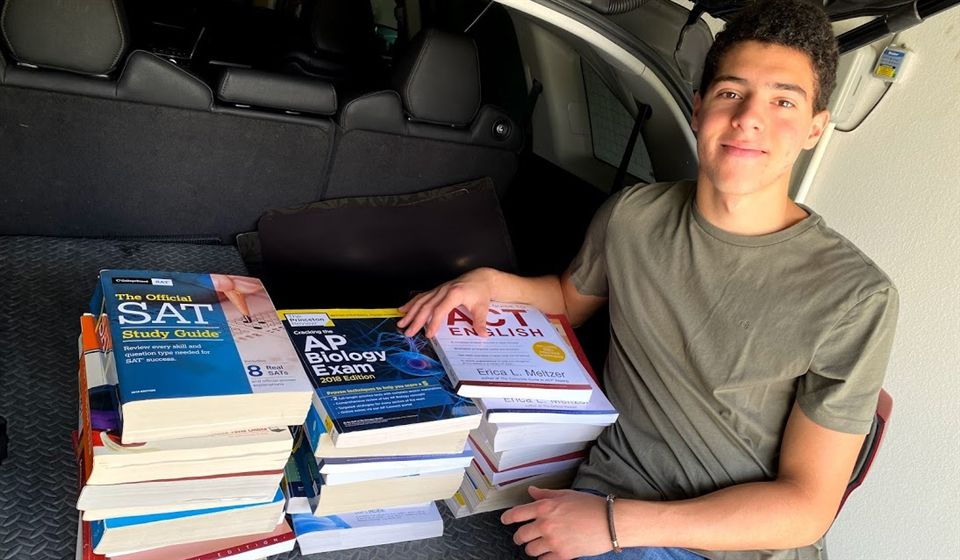 Ali Zidan `21 has started a collection of new or used SAT, ACT or AP books.