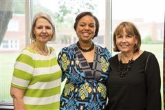 Linda Moss Mines and Anne Exum pictured with Head of School Dr. Autumn Graves