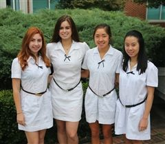 GPS students, from left, Sophie Veys, Tatiana Poggi, Kate Thel, and Margaret Lim
