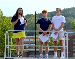 Students Charlotte Vance, Max Ransom, and Ryan Crump speak at Mission: Remission.