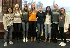 Young Alumnae Panel: (from left) Ivey Fidelibus '16, Katie Brandao '17, Abby Jansen '15, Lauren Good '14, Mary Chandler Gwin '14, Chandler Key '13, Allyce Buniak '16, and Morgan Pels '17.