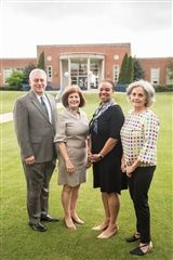 From left, Glen Vey, Isabel McCall '69, Dr. Autumn A. Graves, and Jane Henegar