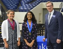 Macy Mashburn and Anisha Phade with Dr. Richard Courtright, a Gifted Education Research Specialist with Duke University TIP, who presented the awards in Nashville.
