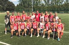 Watts, back row center, with Poland's Women's National Lacrosse Team