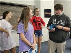 Cast members rehearse one of their songs. From left, Meghan Ray as Arista, Molly Burnett as Ariel, Brooke Johnson as Adella, and Will Owen as Prince Eric.