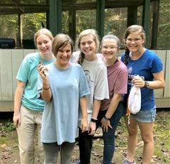 GPS students, from left, Aria Cooper, Mary Kate Kirksey, Mack Reece, Catherine Gray, and Mary Claire Nimon