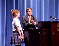 Congressman Fleischmann introduces Emerson Couch '24 as the winner