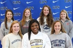 From left, front row: Jillian Cantrell, Kendall Crum, and Caitlin O'Brien; back row: Lizzy Walley, Lane Lawrence, Rebecca Guhde, and Megan Pfaffle.
