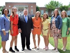 From left, Head of School Dr. Autumn Graves, Isabella Jenkins, Mayor Coppinger, Sasha Carbone, Isabella Rands, Jordan McCarter, Head of Middle School Lynne Macziewski