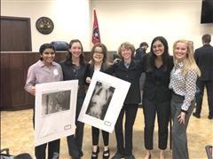 From left, Anya Parambath, Abby Katelyn Pettus, Katherine Bell, Isis Cantrell, Shanzeh Rizvi, and Madison Proctor are all smiles after their victory.