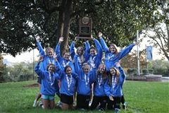 Varsity cross country celebrates the 2020 state championship.