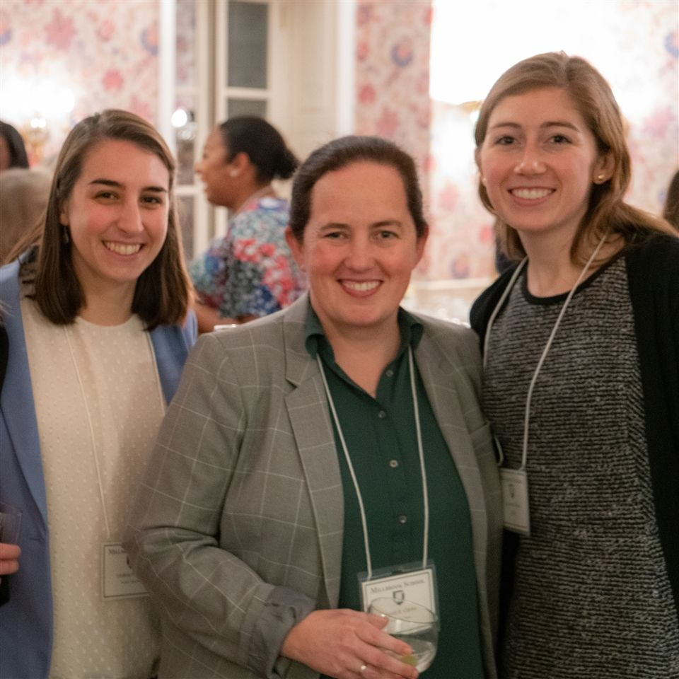 Jarratt Clarke, middle, with history teacher and partner Lindsay Peterson, left, and Caroline Whalen '14, right