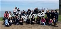 Students and chaperones from Blessed Imelda's School and Saint Joseph Academy visit the Cleveland sign landmark