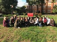 Part of the Class of 2020 on their college bus tour at Otterbein University