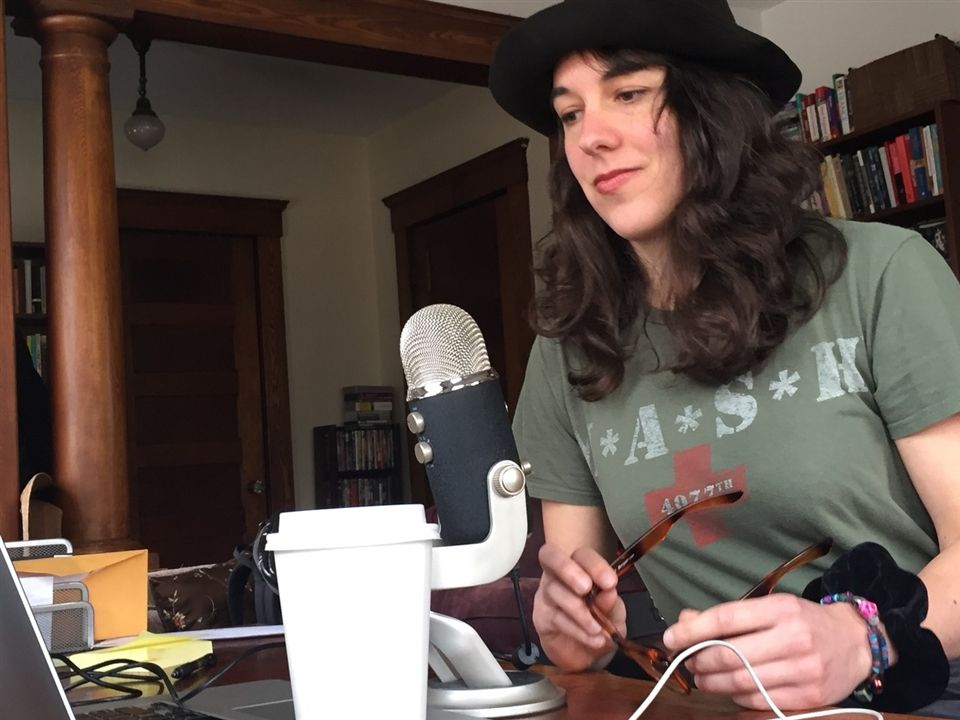 Chelsea Jack '10 recording her podcast about a rural doctor whose life has been touched by the opioid epidemic.