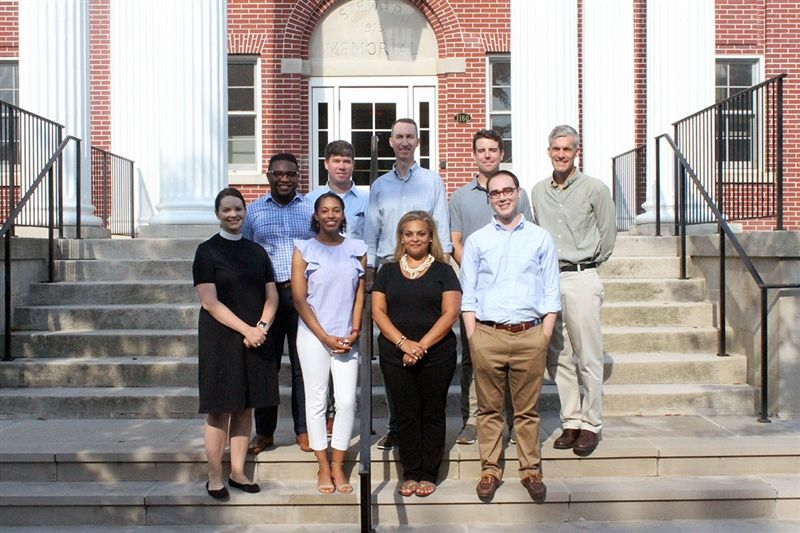 New faculty for 2019-20 include: (front row, from left) Grace Pratt, Brileigh Pinkney, Natasha Kollaros, Thomas Owen; (second row) Warren Quirett, Benjamin Douglass, Joseph Eldred, Kyle McCluskey, and Mike McGowan. Not pictured: Derek Fuller.