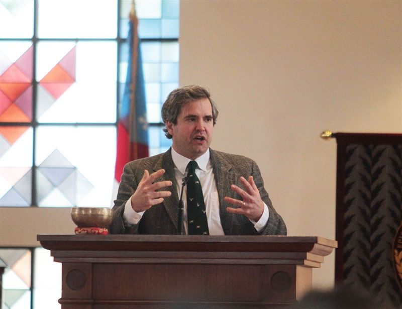 Author David Zahl, the 2020 Theologian-in-Residence, speaks at a chapel service.