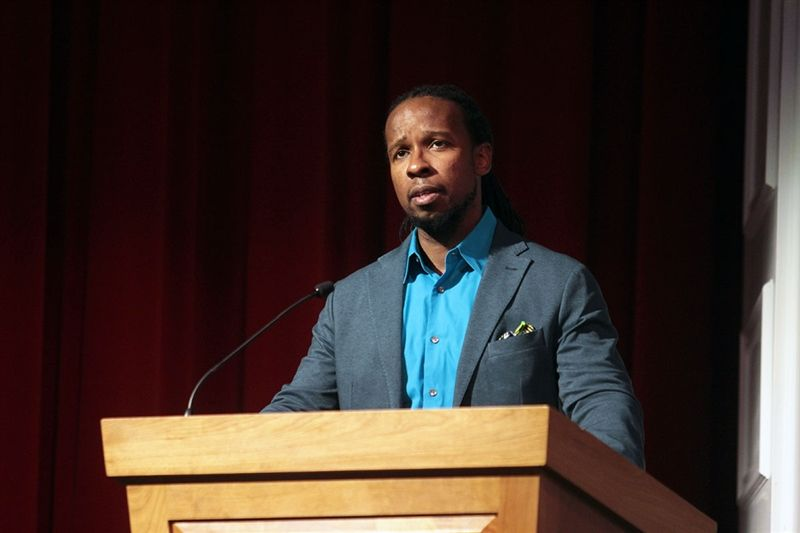 National Book Award winner Ibram X. Kendi delivers his keynote address.