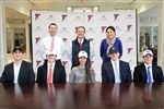 Four seniors -- Michael Grogan (Duke), Coleman Marlatt (VMI), Olovia Sokol (Yale), and Thomas Williamson (VMI) -- recently committed to play lacrosse in college beginning in 2019, and Archer Staunton will row at Columbia. Standing behind the athletes are Athletic Directors Jim and Jen Fitzpatrick and Head of School Charley Stillwell (center).