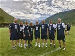 Assistant Head for Student Life Doug Dickson (No. 14), with Middlebury teammates and fellow 1981 graduates at the Vail Shootout.