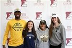 Episcopal's early college commits, from left: Tymu Chenery (Quinnipiac University), Neely Holt (Georgetown), Dymin Gerow (University of Maryland, Baltimore County), and Haley Sobol (Yale).