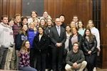 Leary with students from Episcopal's advanced government classes..