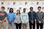 New EHS college commits: Seniors Parker Jenkins (Dickinson College); Jamall Mensah (University of Rhode Island), Tiffany Stowers (Trinity College), Tre Simmons (Babson College), Elijah Gaines (University of Virginia), and John Boyles (Wofford College).