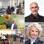 Speakers at the all-day program included (from top right): Dr. Arthur Brooks, Cindy McCain, and Reggie Love.