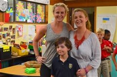 Alumni Crista Freeman '94 (left) with sister Cara '86, and nephew, Wright, 2nd grade