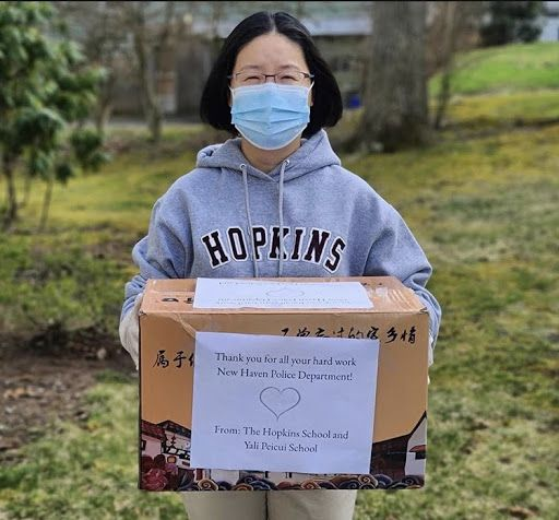Modern language teacher, Lan Lin donates N95 masks to help essential workers while we are social distancing. Photo by the Hopkins Instagram @hopkinsschoolct