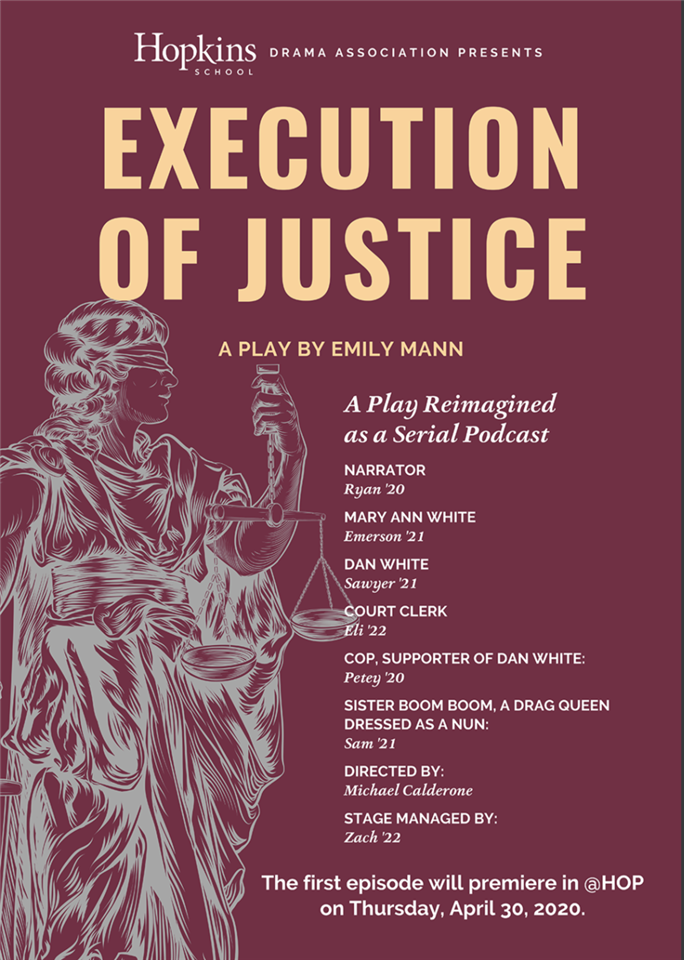 A poster for the newly launched Execution of Justice podcast, designed by Director of Communication John Galayda. Poster by John Galayda