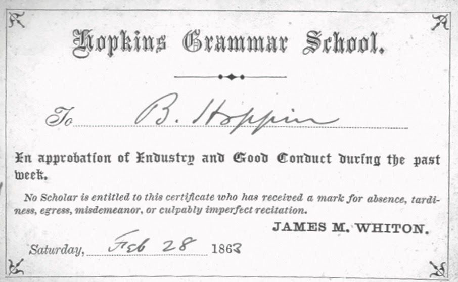 "In 1863, former Head of School James M. Whiton gave B. Hoppin an award for ""industry and good conduct."" Credit: Thom Peters"