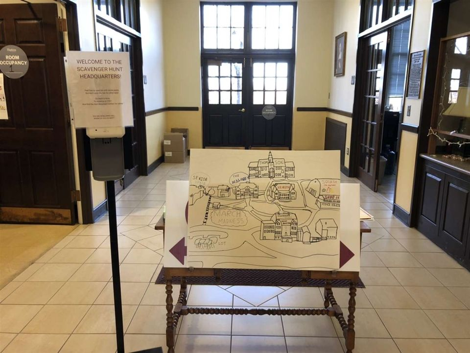 A map of Hopkins and a Scavenger Hunt clue located on the first floor of Baldwin, where the Hunt began, on March Madness Day.