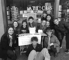 Junior Schoolers fundraise in front of Atticus in downtown New Haven. (photo: hopkins.edu)