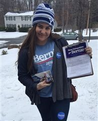 Sophie Cappello '16 poses in Atkinson, New Hampshire, before a day of canvassing for  Senator Bernie Sanders. (photo: Lauren Corradi '16)