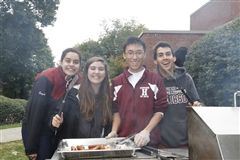 "Student Council members from left to right: Damini Singh '16, Sophie Cappello '16, Eric Kong '16, and Will Simon '16. ""Will has led this school with more passion and conviction that any other Student Council President in the time we've been at Hopkins."" - Sophie Cappello '16. (hopkins.edu)"