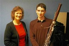 Paul Stelben '17 with his bassoon instructor. (nhregister.com)