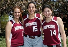 Seniors Christy Lano, Damini Singh, and Claire Yin '16 pose at their softball practice. (hopkins.edu)