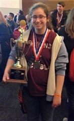 Emma Bucklan '17 at the UCONN Science Olympiad tournament in 2015. (wiltonbulletin.com)