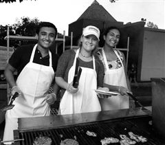 Deepak Gupta '18, Jessica D'Errico '18 and Sanea Bhagwagar '17 enjoyed grilling hotdogs, hamburgers, and chicken for hungry teachers and students before the band performances.