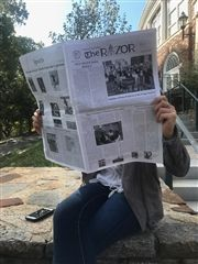 Allie Sokol '18 reads the September issue of The Razor.