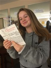 Eleanor Doolittle '20 indulges in some light reading of the U.S. Constitution.