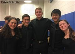 In the photo above, Lily Meyers '20, Kieran Anderson '18, Owen Rahr '18, Kenny Lu '19, and Katie Broun '19 (L-R), represent Hopkins at CMEA regionals as members of the mixed choir.