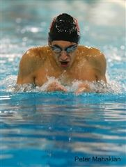 Captain Neal Sarin '18 swims the breaststroke in a meet  against Kingswood-Oxford.