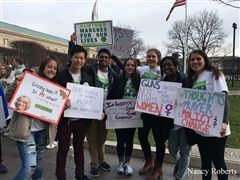 Naomi Roberts '18, Jeff Gu '18, Avi Bhaya '18, Jenn Horkovich '18, Georgia Doolittle '18, Donasia Gray '18, and Sarah Roberts '20 participate in the March for Our Lives in Washington, D.C.