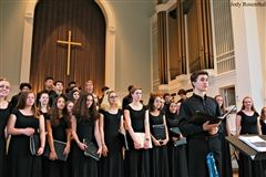 "Soloist and Concert Choir President Emeritus Kieran Anderson '18 and Tour Choir members perform ""Cornerstone"" in their annual Spring concert at Church of the Redeemer."