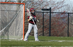 O'Brien defending the goal in a game against Hamden Hall Country Day School.
